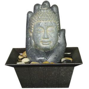Details Sur Bouddha Et Main De Table Interieur Fontaine Deco Aquatique Avec Galets