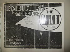 Instructions cine projector The CARPENTER De-Luxe 16mm sound motion - CD/Email