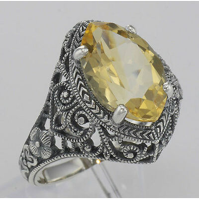 20161013. Beautiful 3 Carat Victorian Style Genuine Citrine Filigree Ring ... Lot 20161013