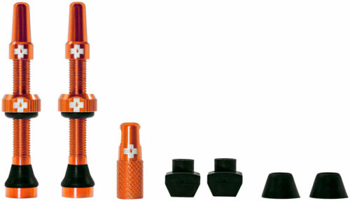 Pair Muc-Off Tubeless Valve Kit: Orange 44mm fits Road and Mountain