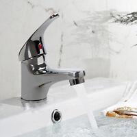 Top Chrome Modern Bathroom Single Lever Basin Sink Mono Water Mixer Tap UK