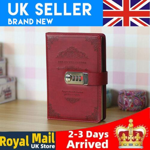 Retro Password Book Lock Diary Thickened Creative Account Stationery Notebook UK