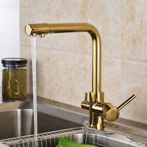 gold 3 wege küchenarmatur trinkwasser wasserhahn