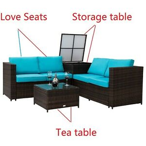 Brilliant Details About 4Pc Rattan Patio Sofa Furniture Set Loveseat Sectional Seat W Storage Box Table Pdpeps Interior Chair Design Pdpepsorg