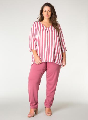 Größen Viskose Gestreift Bluse Altrosa Kurzarm Tunika Shirt Damen Weiß Große xPw8zqBqH