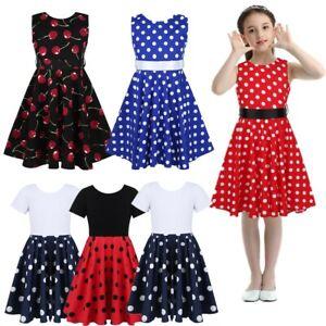 Kids A Line Swing Dress Party Formal Casual Summer Flower Girl Dress Pleated Hem