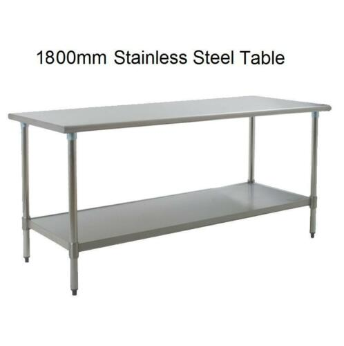 NEW Stainless Steel Table 1800mm Long x 600mm Deep x 850mm High 2 Layers