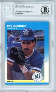 Rey Quinones Autographed Signed 1987 Fleer Card #595 Mariners Beckett 10540536