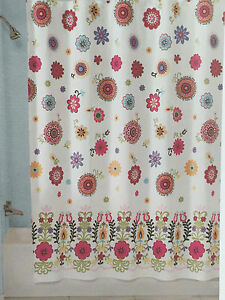 PERI SASHA WHITE AQUA ORANGE PINK FLORAL FABRIC SHOWER CURTAIN NEW EBay