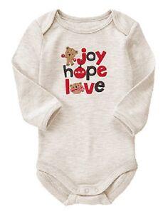 Image is loading Gymboree-Heather-Gray-Joy-Hope-Love-Christmas-Bodysuit- 1764e254e