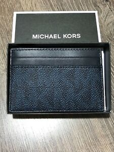 2eb847841565 MICHAEL KORS JET SET MENS CARD CASE MONEY CLIP MK BALTIC BLUE MINI ...