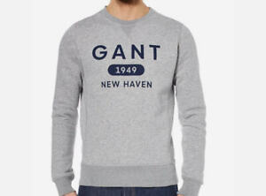 Men-039-s-GANT-Grey-Graphic-Crew-neck-Sweatshirt-S-to-XXL
