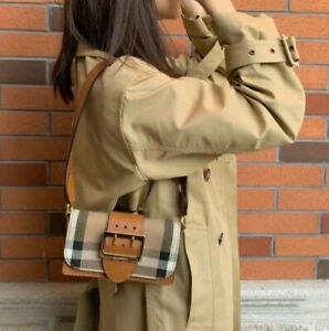 100% AUTH brand new Burberry Women's Buckle Bag in House Check and Leather Tan