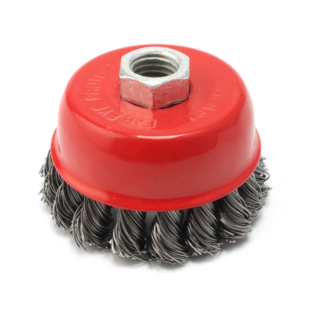 """New. 14mm x 2.0 Mounting Thread Knotted Wire Cup Brush 3"""" for Angle Grinders"""