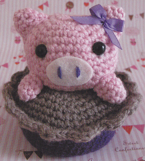 Crochet Pattern  Little Piggy Cupcake Stuffed Animal Toy -5680