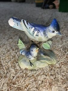 Vintage Japan Blue Jay With Baby Bird Figurine