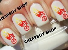 Top Quality《FLAMING HOT FLAME SEXY MOTORCYCLE LOGO》Tattoo Nail Art Decals