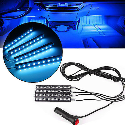 4pcs Car Charge LED Glow Interior Light Decorative 4in1 Atmosphere Strip Lamp