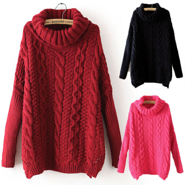Women Autumn Sweater Casual Long Sleeve Turtleneck Chunky Cable Knit Sweater H