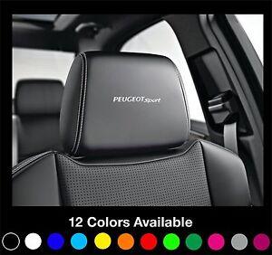 6x peugeot sport logo headrest car seat decals badge sticker rcz gti 208 308 408 ebay. Black Bedroom Furniture Sets. Home Design Ideas