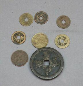 8 x historische Münzen aus CHINA Asien asiatisches Geld mit 6 Lochmünzen MA1