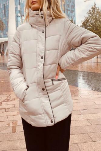 Femme Manches Longues Matelassé Rembourré Bulle Fermeture Éclair À Col Cheminée Puffa Veste