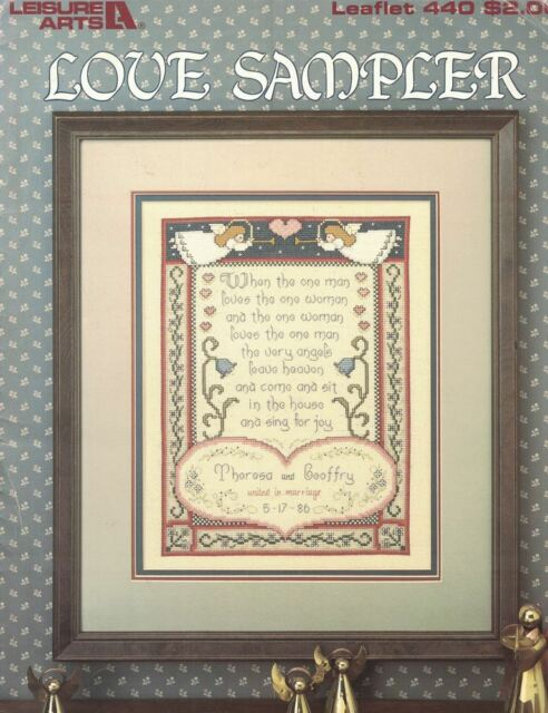 Leisure Arts 440 LOVE SAMPLER for Counted Cross Stitch 1986 Color Chart