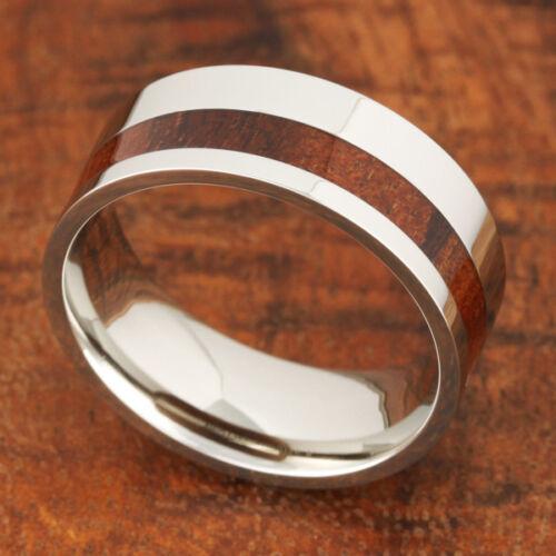 Koa Wood Ring Top Grade 316 Stainless Steel Off Center Flat Shape 8mm  SLR6109