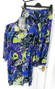 ❤ Vintage Windsmoor Bleu Taille 12-14 Violet Lime Jupe & Oversize Chemise-afficher Le Titre D'origine Convient Aux Hommes Et Aux Femmes De Tous âGes En Toutes Saisons