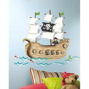 Image Is Loading PIRATE SHIP GiaNT WALL DECALS Boys Baby Nursery  Part 85