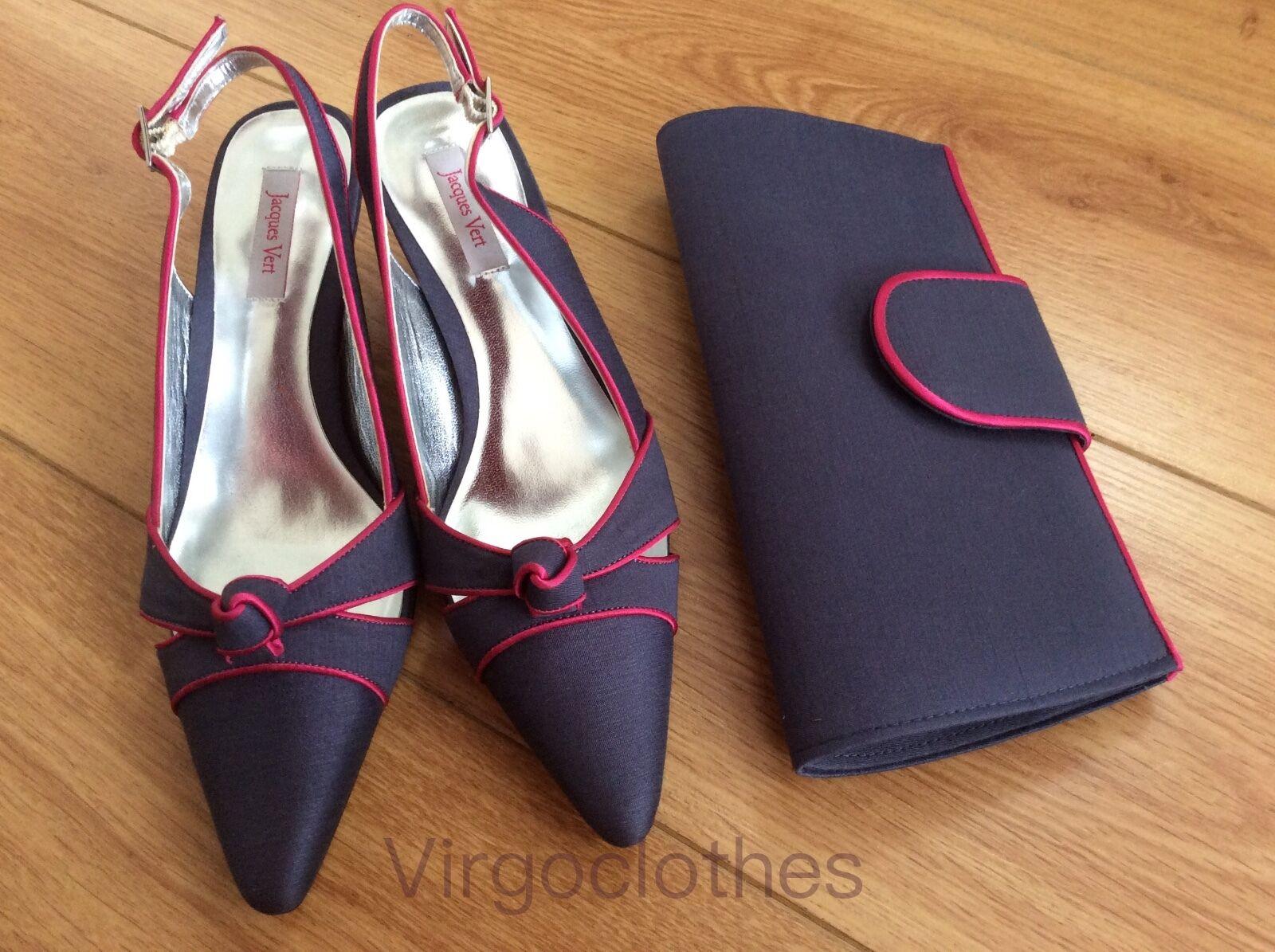 New - Gorgeous Jacques Vert Vert Vert  Schuhes & Handbag, Größe 4, Grau & Fushia Pink f2042f