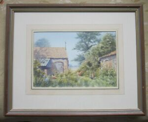 Clifford-Knight-Watercolour-Rural-Landscape-Norfolk-Sea-Palling-signed-framed