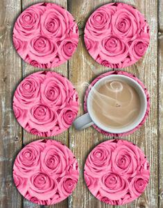 Pink-Roses-Drink-Coasters-Set-of-6-Non-Slip-Neoprene