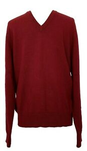 NEW-BROOKS-BROTHERS-MEN-039-S-CASHMERE-BURGUNDY-V-NECK-SWEATER-M-468