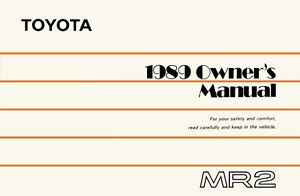 1989 toyota mr2 owners manual user guide reference operator book ebay rh ebay com 1991 toyota mr2 owners manual download Toyota Supra