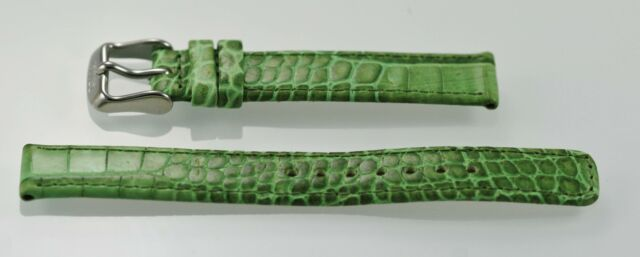 Relic Unisexe Acier Inoxydable Vert Texturé Cuir Remplacement Montre Bande 14mm