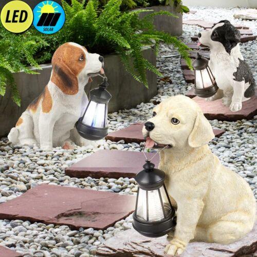 3er Set LED Hunde Solar Leuchten Veranda Dekorationen Außen Steh Stand Lampen