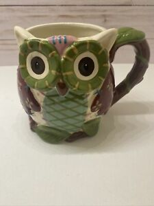 Owl Coffee Mug - Hand Painted - 20 oz. Dolomite - Pier One- Preowned