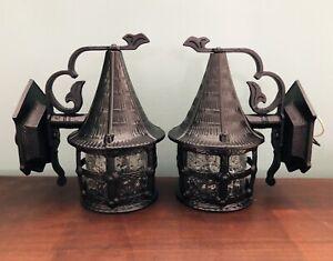 Paire Vintage Arts & Crafts Luminaire Plâtre Gothique Noir Appliques Porche Tudor