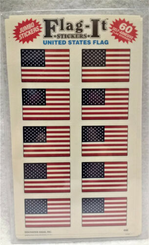 """60 stickers per pack Lot of 6 Packages of 1/"""" x 1.5/"""" USA Flag-It Stickers"""