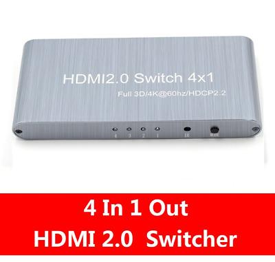 4 Port HDMI 2.0 Switcher 4 In 1 Out HD 4K 60Hz HDMI Splitter Adapter Für XBox