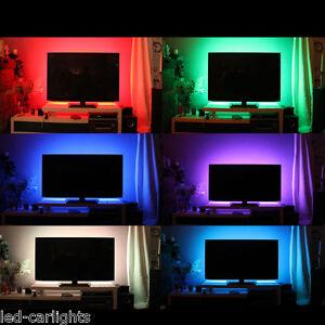 tv hintergrundbeleuchtung led leiste strip multicolor rgb nach zoll ebay. Black Bedroom Furniture Sets. Home Design Ideas