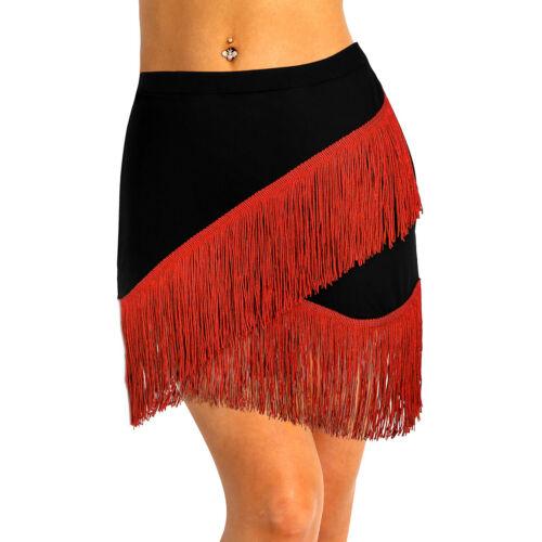 Womens Tassels Latin Salsa Tango Rumba Cha Cha Square Ballroom Dance Dress Skirt
