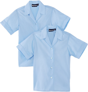 "Blue Blue Max Banner Girl/'s Revere Twin Pack Short Sleeve School Blouse 36/"""