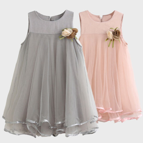 Fashion Toddler Baby Girls Chiffon Dresses Sleeveless Drape Dress+Flower Brooch