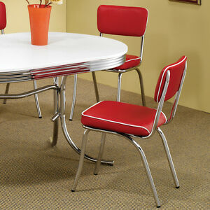 Details about Red Retro Dining Chair 2 Pack 50's Diner Chrome Kitchen  Furniture Cushion Seat
