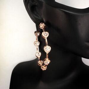 Unheated-Pear-Pink-Morganite-Cz-14k-Rose-Gold-Plate-925-Sterling-Silver-Earrings