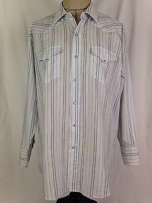 Mesquite Western Shirt Mens 17 1/2-34 Size White Blue Cowboy Rodeo Texas USA