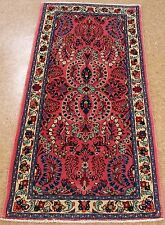 """2'3"""" x 4'8"""" PERSIAN SAROUK Hand Knotted Wool ROSE IVORY Oriental Rug Runner"""