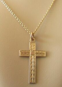 8d0e3c031 Image is loading Vintage-9ct-Yellow-Gold-Patterned-Cross-Pendant-amp-